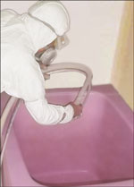 浴槽再塗装中です